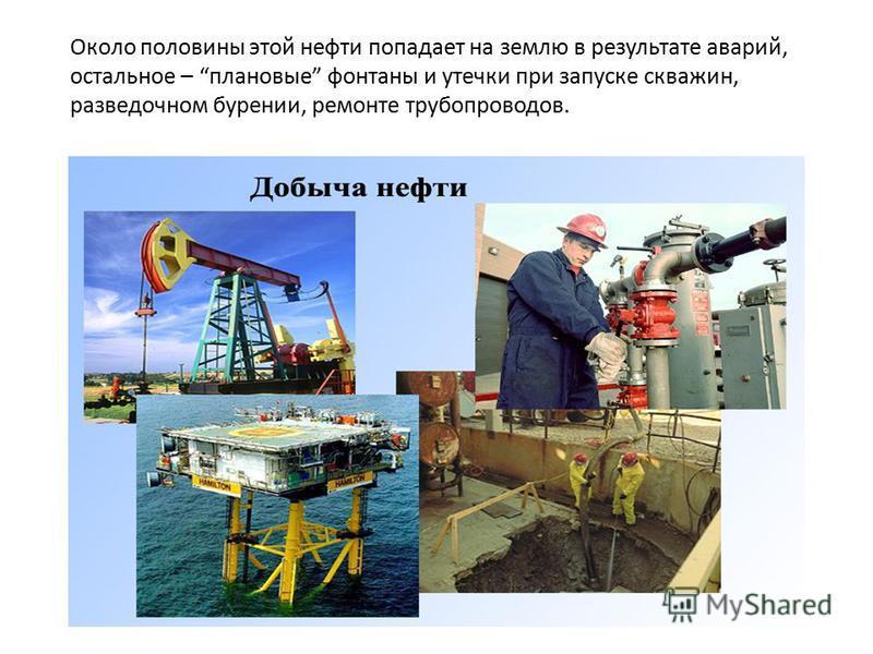 Около половины этой нефти попадает на землю в результате аварий, остальное – плановые фонтаны и утечки при запуске скважин, разведочном бурении, ремонте трубопроводов.