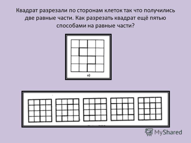 Квадрат разрезали по сторонам клеток так что получились две равные части. Как разрезать квадрат ещё пятью способами на равные части?