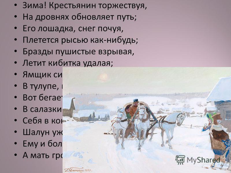 Зима! Крестьянин торжествуя, На дровнях обновляет путь; Его лошадка, снег почуя, Плетется рысью как-нибудь; Бразды пушистые взрывая, Летит кибитка удалая; Ямщик сидит на облучке В тулупе, в красном кушаке. Вот бегает дворовый мальчик, В салазки жучку
