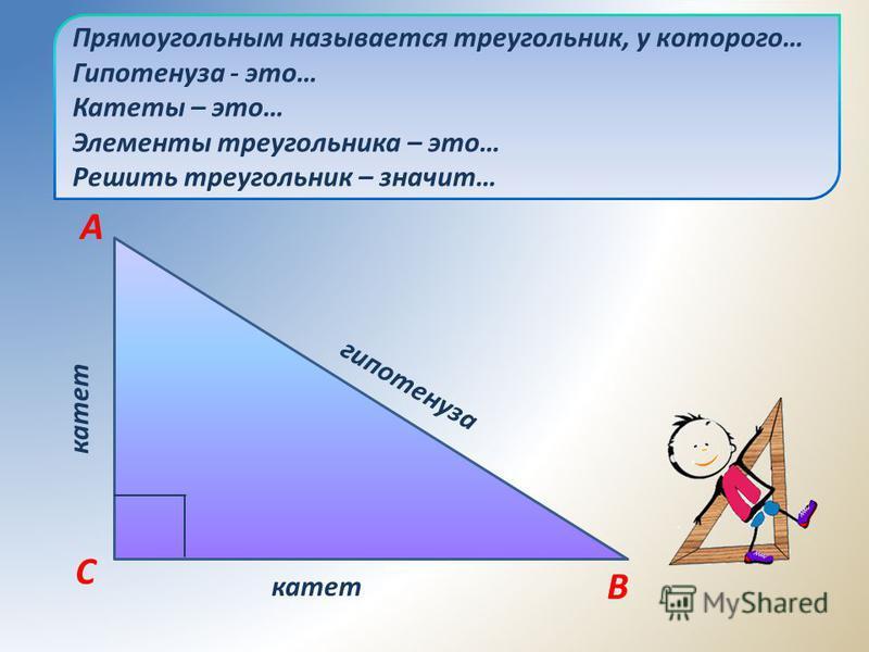 Прямоугольным называется треугольник, у которого… Гипотенуза - это… Катеты – это… Элементы треугольника – это… Решить треугольник – значит… гипотенуза катет B C A