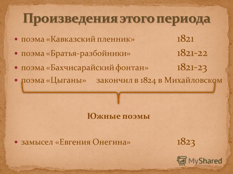 поэма «Кавказский пленник» 1821 поэма «Братья-разбойники» 1821-22 поэма «Бахчисарайский фонтан» 1821-23 поэма «Цыганы» закончил в 1824 в Михайловском Южные поэмы замысел «Евгения Онегина» 1823