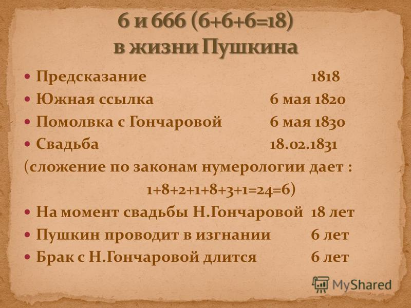 Предсказание 1818 Южная ссылка 6 мая 1820 Помолвка с Гончаровой 6 мая 1830 Свадьба 18.02.1831 (сложение по законам нумерологии дает : 1+8+2+1+8+3+1=24=6) На момент свадьбы Н.Гончаровой 18 лет Пушкин проводит в изгнании 6 лет Брак с Н.Гончаровой длитс