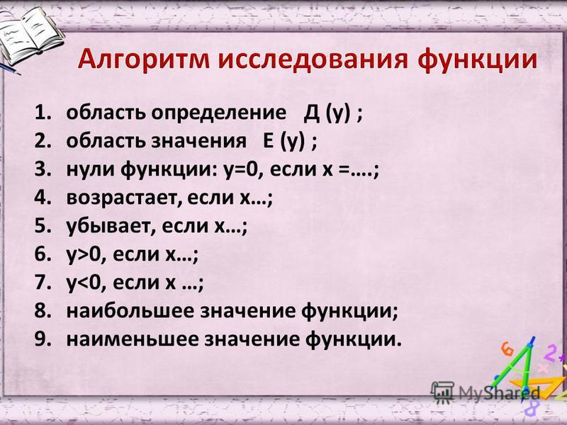 1. область определение Д (у) ; 2. область значения Е (у) ; 3. нули функции: у=0, если х =….; 4.возрастает, если х…; 5.убывает, если х…; 6.у>0, если х…; 7.у