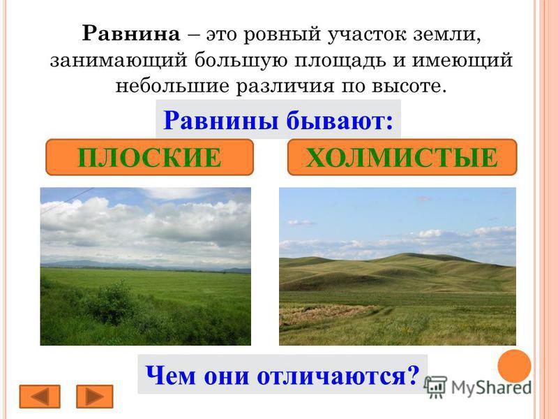 Равнина – это ровный участок земли, занимающий большую площадь и имеющий небольшие различия по высоте. Равнины бывают: ПЛОСКИЕХОЛМИСТЫЕ Чем они отличаются?