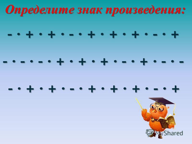 - · + · + · - · + · + · + · - · + - · - · - · + · + · + · - · + · - · - - · + · + · - · + · + · + · - · + Определите знак произведения: