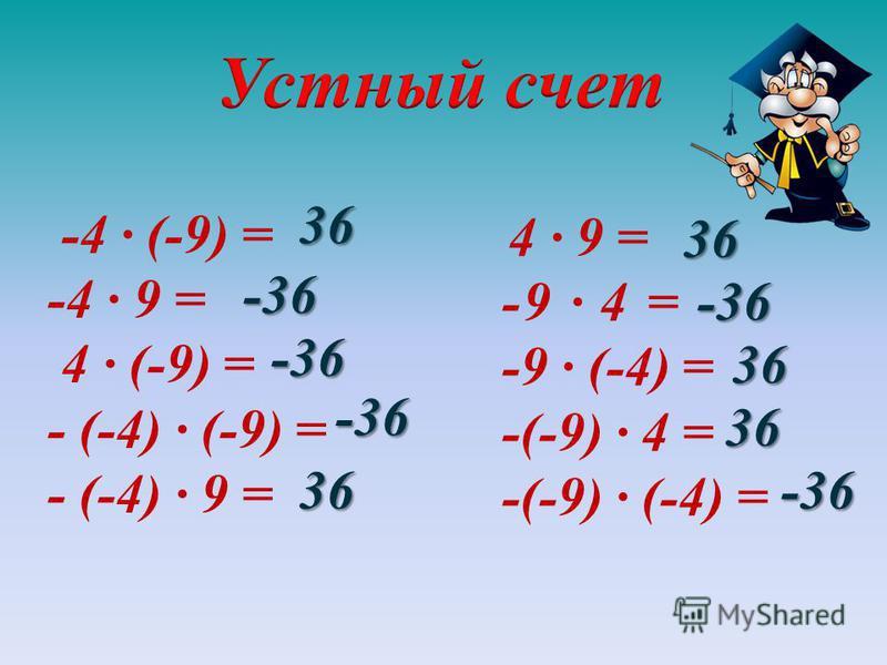 -4 · (-9) = -4 · 9 = 4 · (-9) = - (-4) · (-9) = - (-4) · 9 = 4 · 9 = -9 · 4 = -9 · (-4) = -(-9) · 4 = -(-9) · (-4) =36 -36 -36 -36 36 36 -36 36 36
