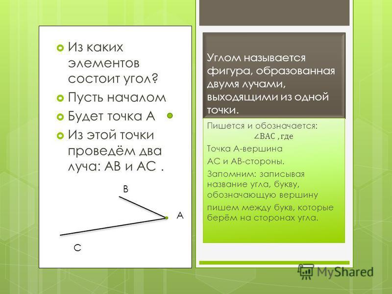 Из каких элементов состоит угол? Пусть началом Будет точка А Из этой точки проведём два луча: АВ и АС. Углом называется фигура, образованная двумя лучами, выходящими из одной точки. А В С