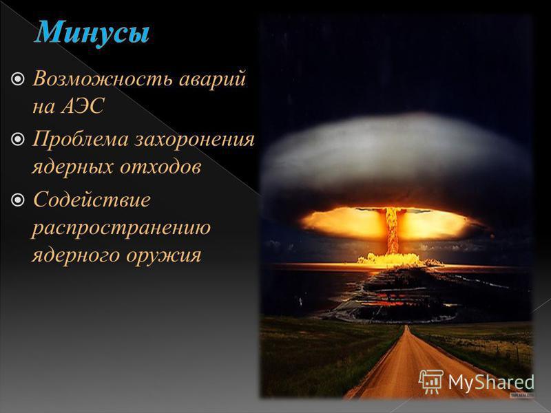 Возможность аварий на АЭС Проблема захоронения ядерных отходов Содействие распространению ядерного оружия