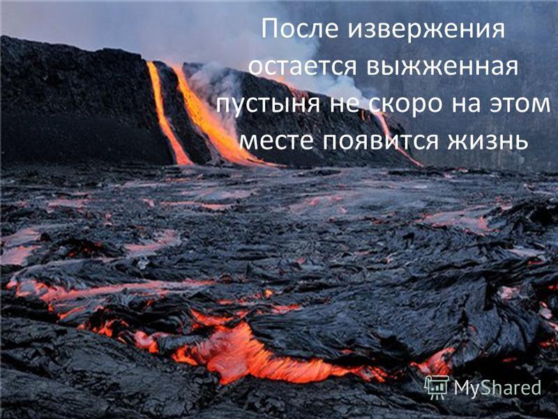 После извержения остается выжженная пустыня не скоро на этом месте появится жизнь