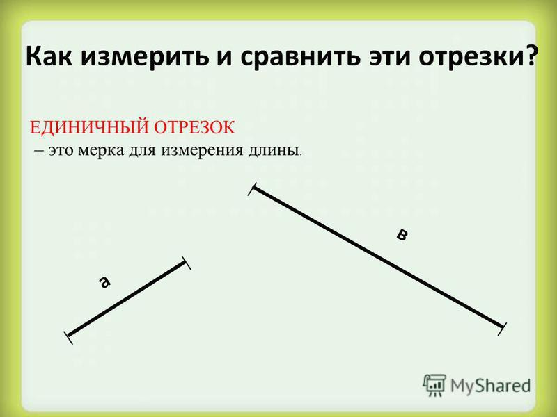 Как измерить и сравнить эти отрезки? а в ЕДИНИЧНЫЙ ОТРЕЗОК – это мерка для измерения длины.