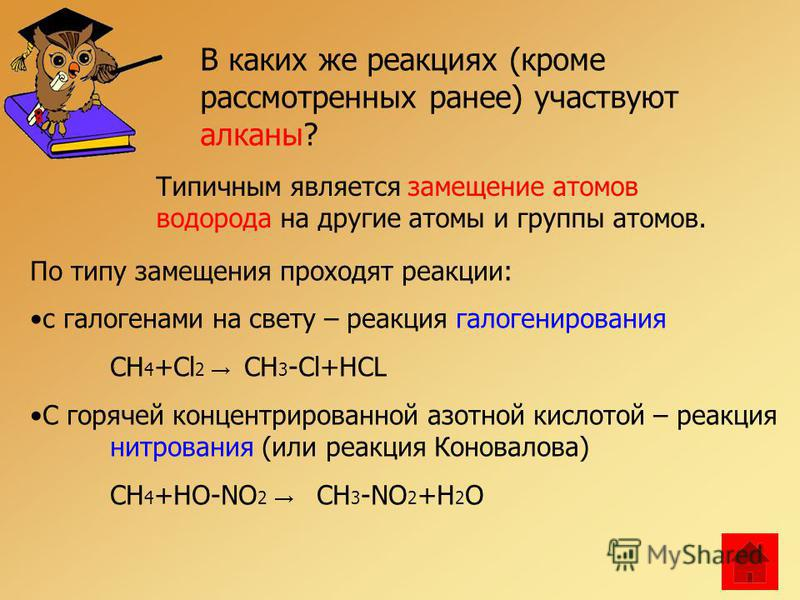 В каких же реакциях (кроме рассмотренных ранее) участвуют алканы? Типичным является замещение атомов водорода на другие атомы и группы атомов. По типу замещения проходят реакции: с галогенами на свету – реакция галогенирования CH 4 +Cl 2 CH 3 -Cl+HCL
