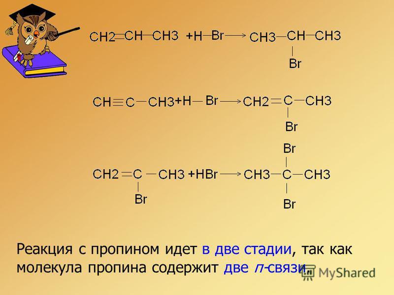 Реакция с пропином идет в две стадии, так как молекула пропина содержит две π-связи.