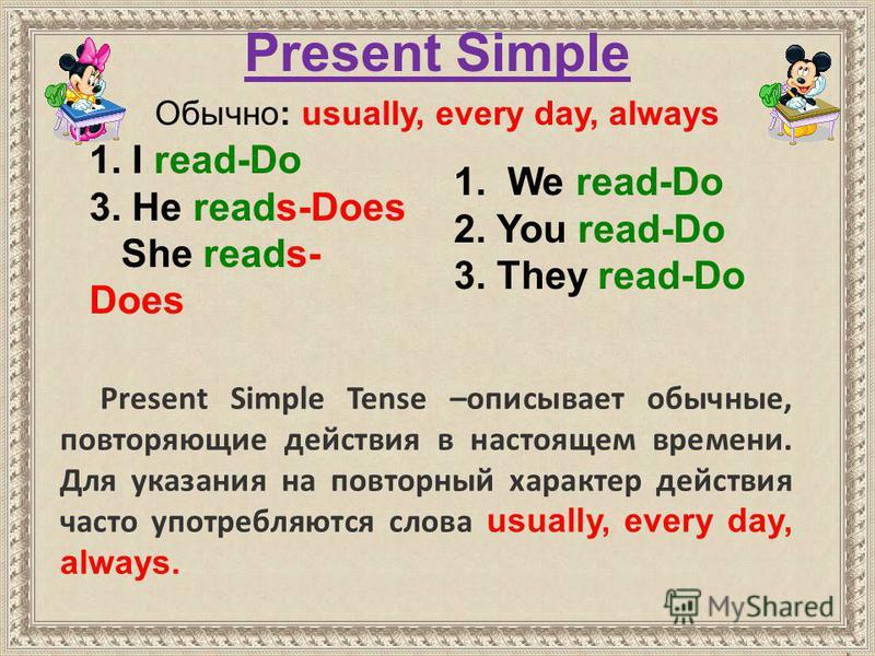 1. We read-Do 2. You read-Do 3. They read-Do 1. I read-Do 3. He reads-Does She reads- Does Present Simple Обычно: usually, every day, always Present Simple Tense –описывает обычные, повторяющие действия в настоящем времени. Для указания на повторный