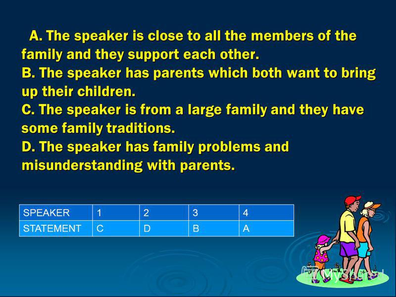 A. The speaker is close to all the members of the family and they support each other. B. The speaker has parents which both want to bring up their children. C. The speaker is from a large family and they have some family traditions. D. The speaker ha