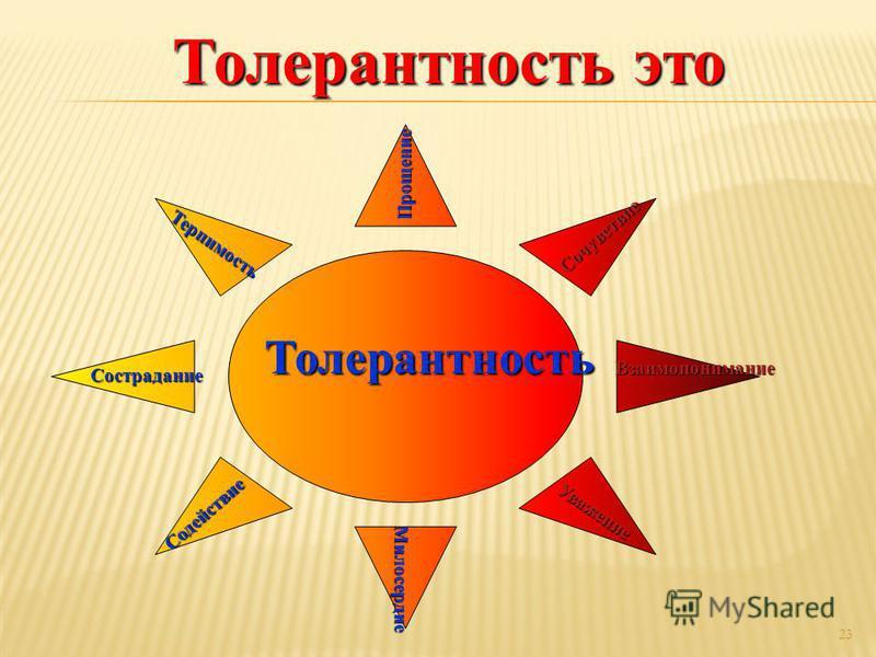 23 Толерантность Прощение Милосердие Милосердие Сострадание Терпимость Сочувствие Уважение Содействие Взаимопонимание Толерантность это