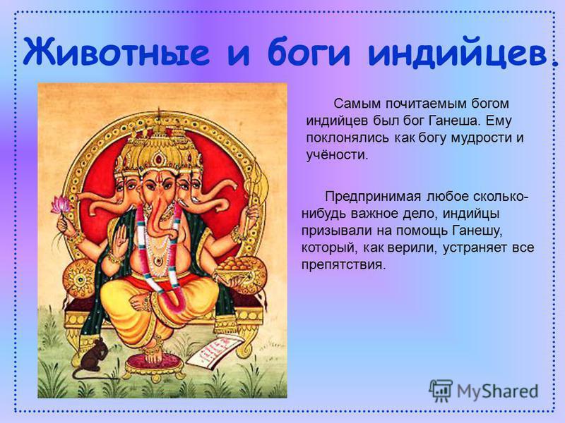 Самым почитаемым богом индийцев был бог Ганеша. Ему поклонялись как богу мудрости и учёности. Предпринимая любое сколько- нибудь важное дело, индийцы призывали на помощь Ганешу, который, как верили, устраняет все препятствия. Животные и боги индийцев