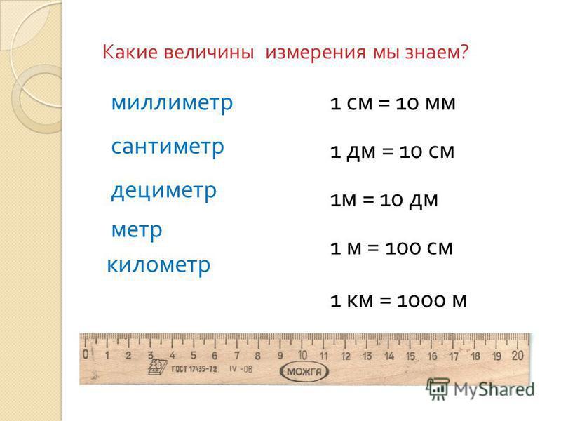Какие величины измерения мы знаем ? миллиметр сантиметр дециметр метр километр 1 см = 10 мм 1 дм = 10 см 1 м = 10 дм 1 м = 100 см 1 км = 1000 м