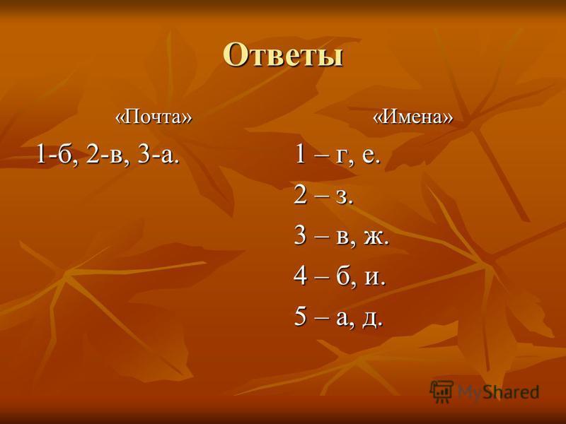 Ответы «Почта» 1-б, 2-в, 3-а. «Имена» 1 – г, е. 2 – з. 3 – в, ж. 4 – б, и. 5 – а, д.