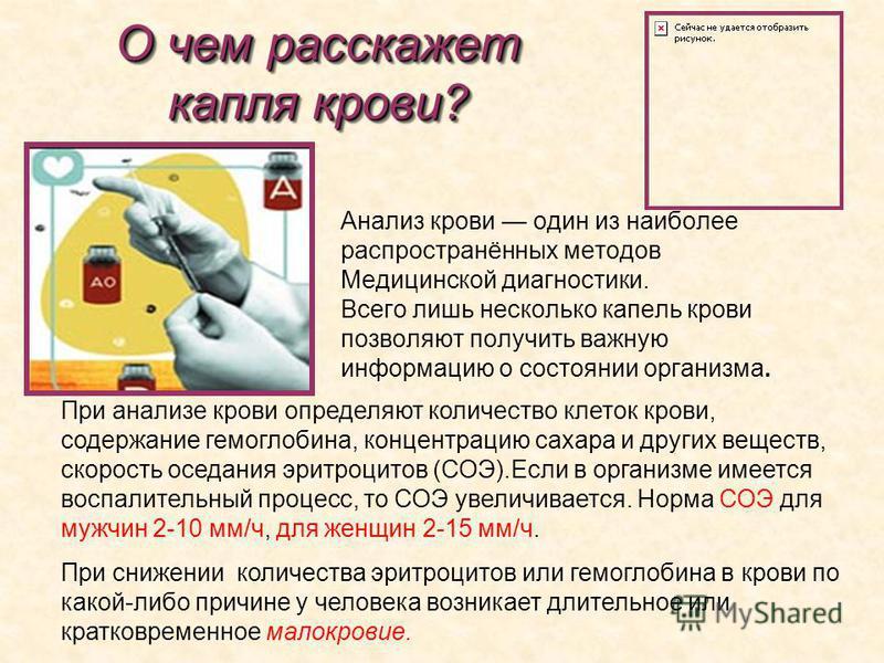 О чем расскажет капля крови? Анализ крови один из наиболее распространённых методов Медицинской диагностики. Всего лишь несколько капель крови позволяют получить важную информацию о состоянии организма. При анализе крови определяют количество клеток