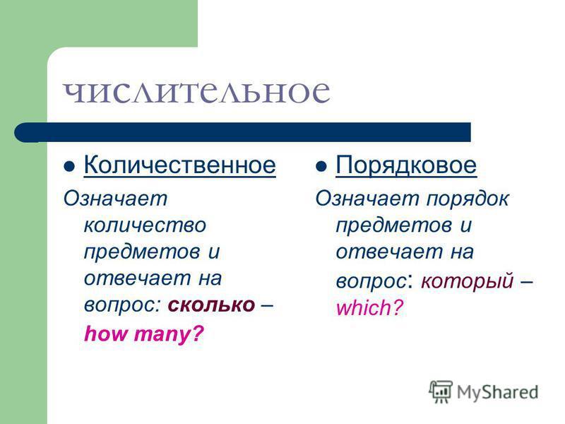 Числительное – это часть речи,которая обозначает количество или порядок предметов