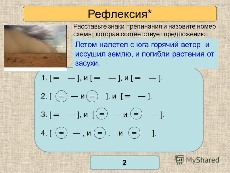 Рефлексия* Расставьте знаки препинания и назовите номер схемы, которая соответствует предложению. 1. [ ], и [ ], и [ ]. 2. [ и ], и [ ]. 3. [ ], и [ и ]. 4. [, и, и ]. Проверьте себя 2 Летом налетит с юга горячий ветер и иссушит степь и погибнут раст