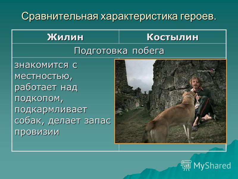 Сравнительная характеристика героев. Жилин Костылин Подготовка побега знакомится с местностью, работает над подкопом, подкармливает собак, делает запас провизии