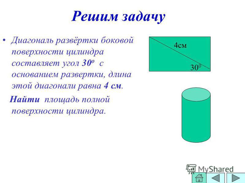 Решим задачу Диагональ развёртки боковой поверхности силиндра составляет угол 30 о с основанием развертки, длина этой диагонали равна 4 см. Найти площадь полной поверхности силиндра. 30 0 4 см