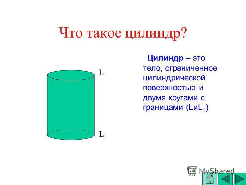 Цилиндр – это тело, ограниченное силиндрической поверхностью и двумя кругами с границами (LиL 1 ) Что такое силиндр? L L1L1
