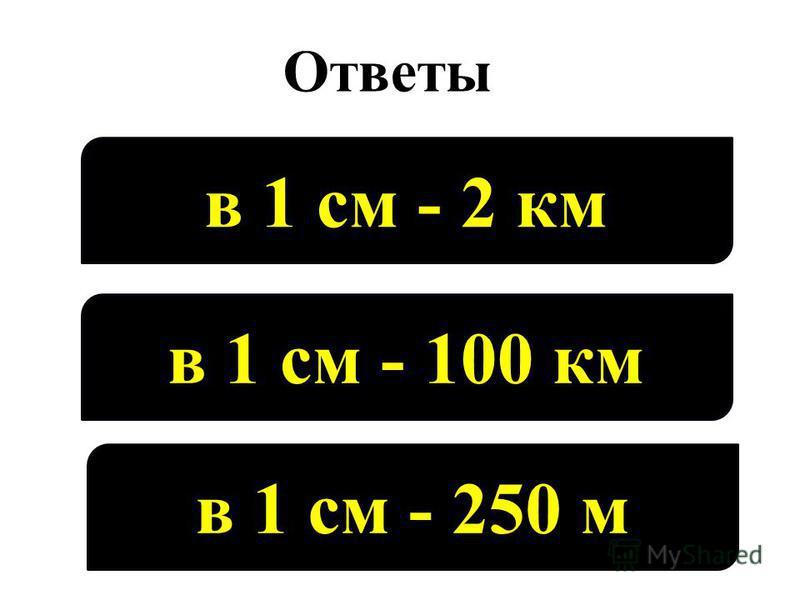 Ответы в 1 см - 2 км в 1 см - 100 км в 1 см - 250 м
