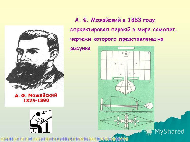 А. Ф. Можайский в 1883 году спроектировал первый в мире самолет, чертежи которого представлены на рисунке