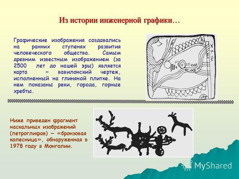 Из истории инженерной графики… Графические изображения создавались на ранних ступенях развития человеческого общества. Самым древним известным изображением (за 2500 лет до нашей эры) является карта – вавилонский чертеж, исполненный на глиняной плитке