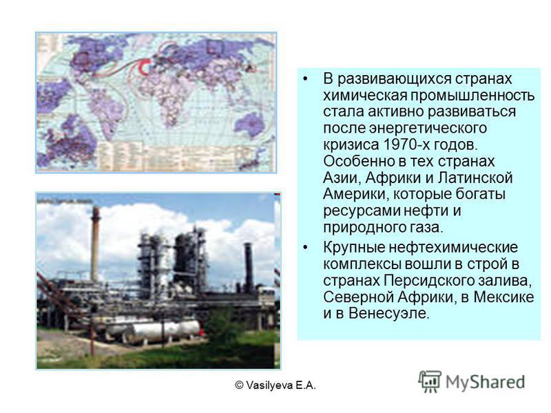 © Vasilyeva E.A. В развивающихся странах химическая промышленность стала активно развиваться после энергетического кризиса 1970-х годов. Особенно в тех странах Азии, Африки и Латинской Америки, которые богаты ресурсами нефти и природного газа. Крупны