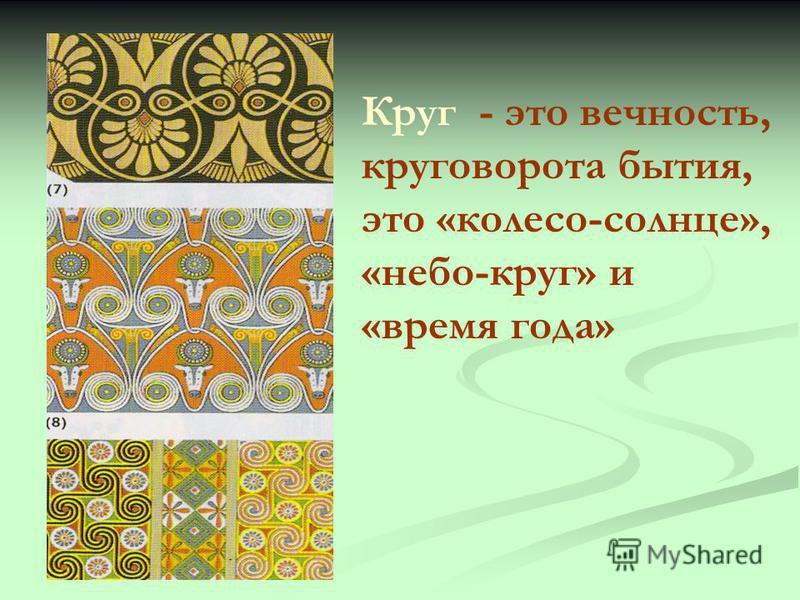 Круг - это вечность, круговорота бытия, это «колесо-солнце», «небо-круг» и «время года»