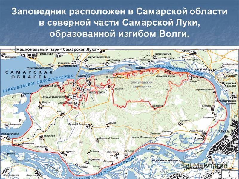Заповедник расположен в Самарской области в северной части Самарской Луки, образованной изгибом Волги.