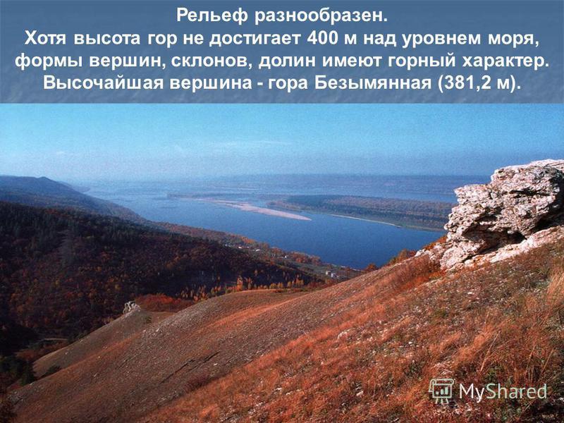 Рельеф разнообразен. Хотя высота гор не достигает 400 м над уровнем моря, формы вершин, склонов, долин имеют горный характер. Высочайшая вершина - гора Безымянная (381,2 м).