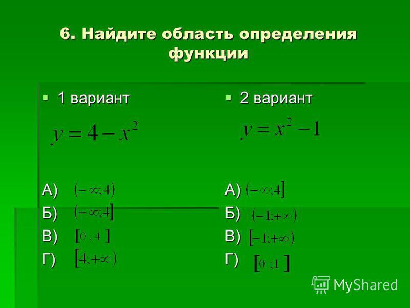 6. Найдите область определения функции 1 вариант 1 вариантА)Б)В)Г) 2 вариант 2 вариантА)Б)В)Г)