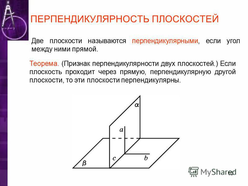 ПЕРПЕНДИКУЛЯРНОСТЬ ПЛОСКОСТЕЙ Две плоскости называются перпендикулярными, если угол между ними прямой. Теорема. (Признак перпендикулярности двух плоскостей.) Если плоскость проходит через прямую, перпендикулярную другой плоскости, то эти плоскости пе