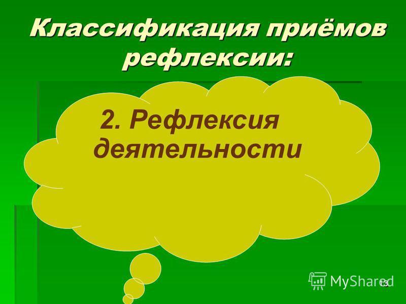 13 2. Рефлексия деятельности Классификация приёмов рефлексии: