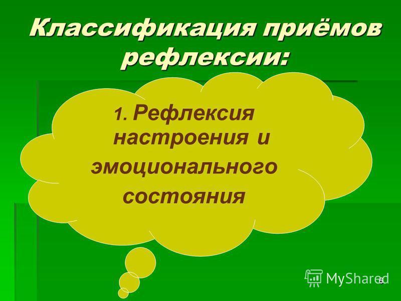 6 Классификация приёмов рефлексии: 1. Рефлексия настроения и эмоционального состояния