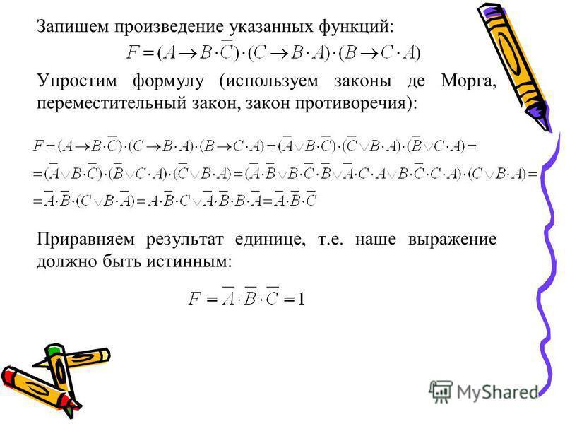 Запишем произведение указанных функций: Упростим формулу (используем законы де Морга, переместительный закон, закон противоречия): Приравняем результат единице, т.е. наше выражение должно быть истинным: