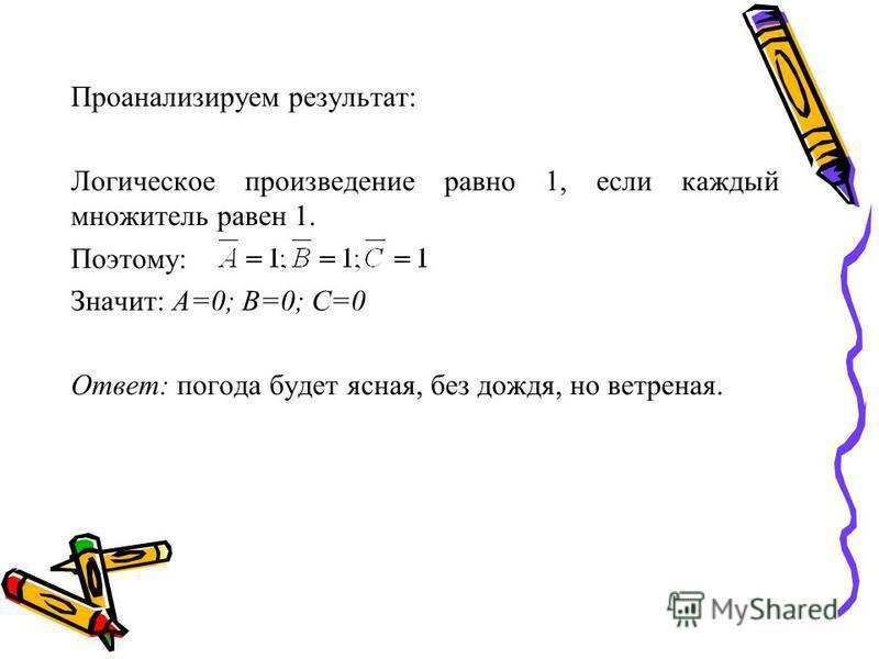 Проанализируем результат: Логическое произведение равно 1, если каждый множитель равен 1. Поэтому: Значит: А=0; В=0; С=0 Ответ: погода будет ясная, без дождя, но ветреная.