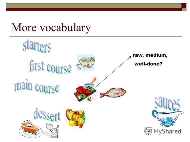 More vocabulary raw, medium, well-done?
