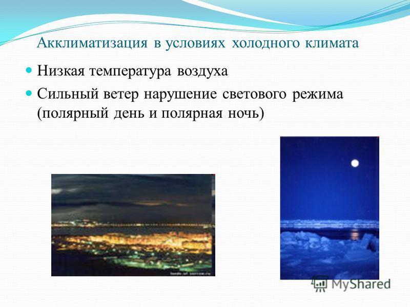 Акклиматизация в условиях холодного климата Низкая температура воздуха Сильный ветер нарушение светового режима (полярный день и полярная ночь)