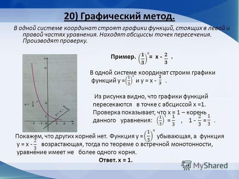 20) Графический метод. В одной системе координат строят графики функций, стоящих в левой и правой частях уравнения. Находят абсциссы точек пересечения. Производят проверку. Пример. = х -. В одной системе координат строим графики функций у = и у = х -