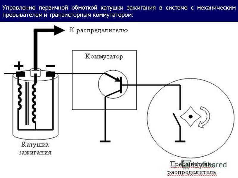 Управление первичной обмоткой катушки зажигания в системе с механическим прерывателем и транзисторным коммутатором: