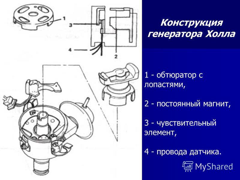 1 - обтюратор с лопастями, 2 - постоянный магнит, 3 - чувствительный элемент, 4 - правода датчика. Конструкция генератора Холла