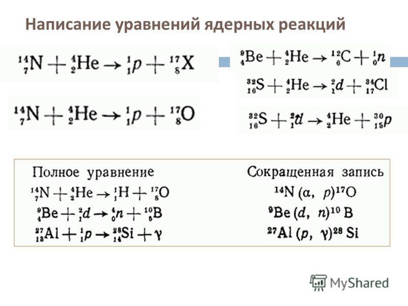 Написание уравнений ядерных реакций