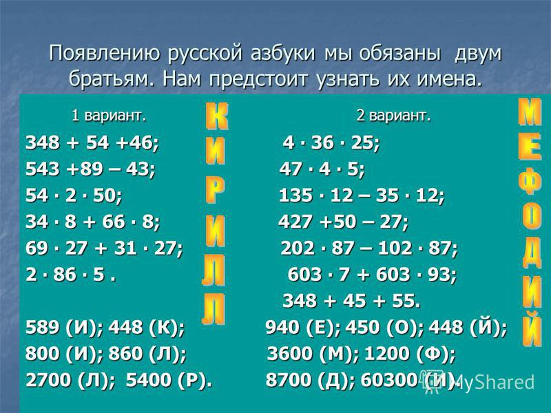 Появлению русской азбуки мы обязаны двум братьям. Нам предстоит узнать их имена. 1 вариант. 2 вариант. 1 вариант. 2 вариант. 348 + 54 +46; 4 36 25; 543 +89 – 43; 47 4 5; 54 2 50; 135 12 – 35 12; 34 8 + 66 8; 427 +50 – 27; 69 27 + 31 27; 202 87 – 102