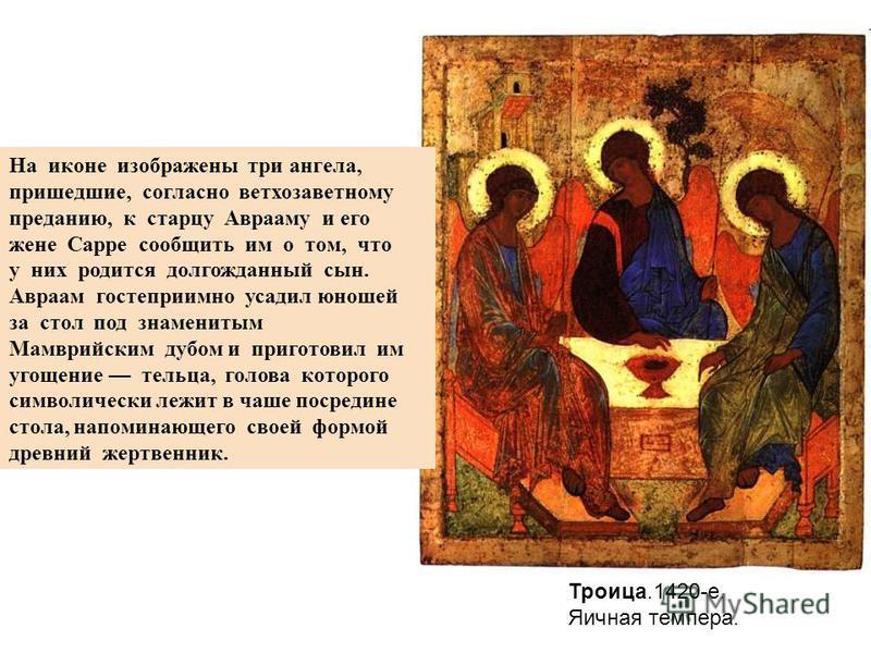 Троица.1420-е. Яичная темпера. На иконе изображены три ангела, пришедшие, согласно ветхозаветному преданию, к старцу Аврааму и его жене Сарре сообщить им о том, что у них родится долгожданный сын. Авраам гостеприимно усадил юношей за стол под знамени