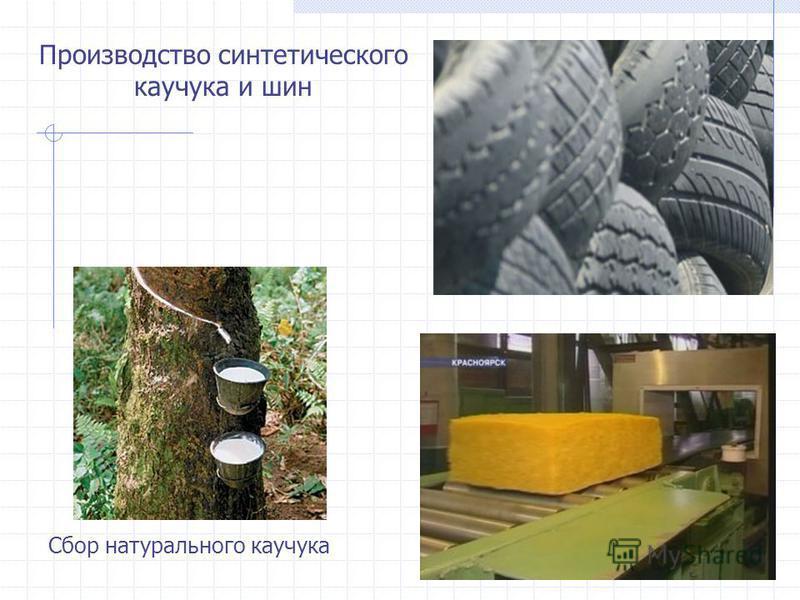 Производство синтетического каучука и шин Сбор натурального каучука